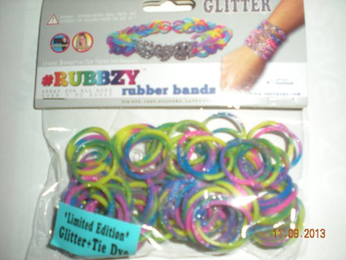 Rubbzy Glitter Purple Pink Green Yellow Loose Rubber Bands