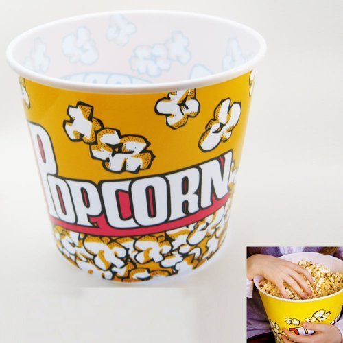Retro Style Popcorn Bowl Large Plastic Container, Reusable Tub Movie Theater Bucket (Popcorn Bags Retro compare prices)
