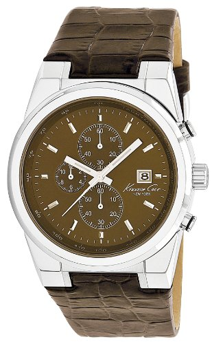 Kenneth Cole Men's Quartz Watch with Brown Dial Chronograph Display and Brown Leather Strap KC1766