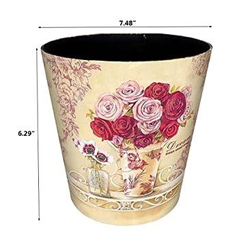 Bestwoo Retro Waterproof Trash Can Flower Pattern Waste Bin without Lid (M, Style 5)
