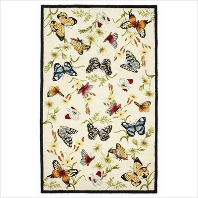 Accents Colorful Butterflies with Ivory Background Novelty Rug Size: 2' x 3'
