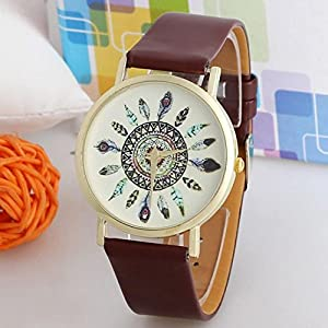Hemlock Stylish Women Vintage Feather Dial Watches with PU Leather band Watches Brown from T21013
