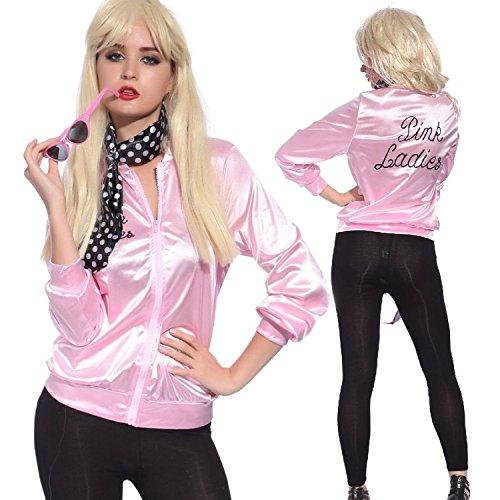 TDmall 50S Grease T-Bird Danny T Bird / Pink Ladies Jacket Costume Fancy Dress (S+Scarf+Glasses, (Top Fancy Dress Costumes)