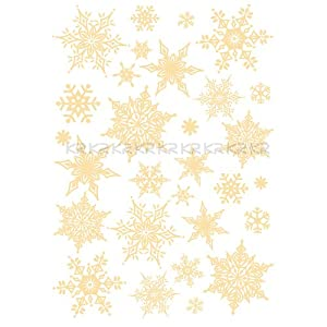 #!Cheap Easy Instant Decoration Wall Sticker Decal - Ornate Glittery Golden Snowflakes