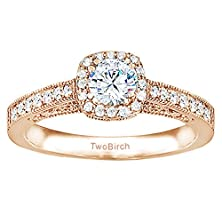 buy Rose Silver Vintage Halo Engagement Ring With Cz (0.85 Ct. Twt.)