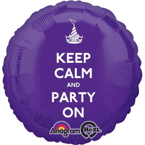 Anagram International Hx Keep Calm & Party on Balloon, Multicolor