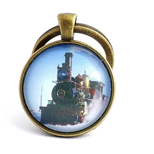 antique-bronze-effect-blue-skies-steam-train-keyring