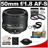 Nikon 50mm f/1.8 G AF-S Nikkor Lens with 3 (UV/FLD/CPL) Filter Set + Accessory Kit for Digital SLR Cameras