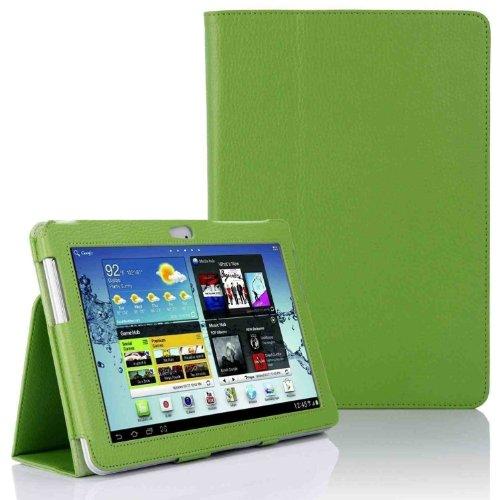 Hostey ® Samsung P5100 P5110 Tasche Hülle Schutzhülle Case Cover for Samsung Galaxy Tab 2 10.1 P5100 P5110 mit Ständer++ Displayschutzfolie (Bio Pu Leder) (Grün/GreenII)