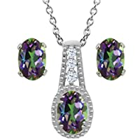 2.13 Ct Oval Green Mystic Topaz 925 Sterling Silver Pendant Earrings Set
