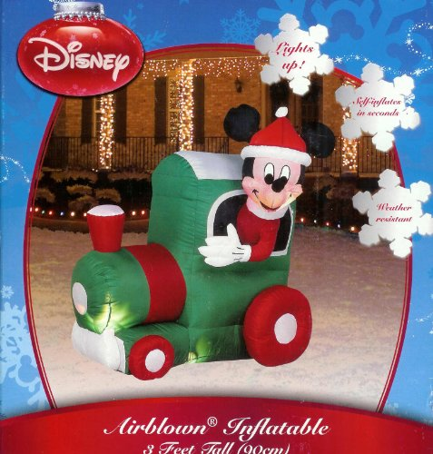 save disney mickey mouse christmas train 3 ft inflatable