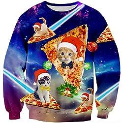 RAISEVERN Cute Funny Pizza Cat Santa Hat Graphic Pullover Sweater Sweatshirt Jumper