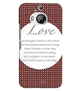 Fuson 3D Printed Love Designer back case cover for HTC One M9 Plus - D4562
