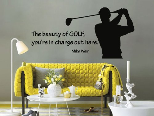 Housewares Vinyl Decal Sport People Man Golf Player Quote the Beauty of Golf.. Home Wall Art Decor Removable Stylish Sticker Mural Unique Design for Any Room