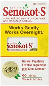 Senokot-S Natural Vegetable Laxative Ingredient Plus Stool Softener, Tablets, 60 tablets