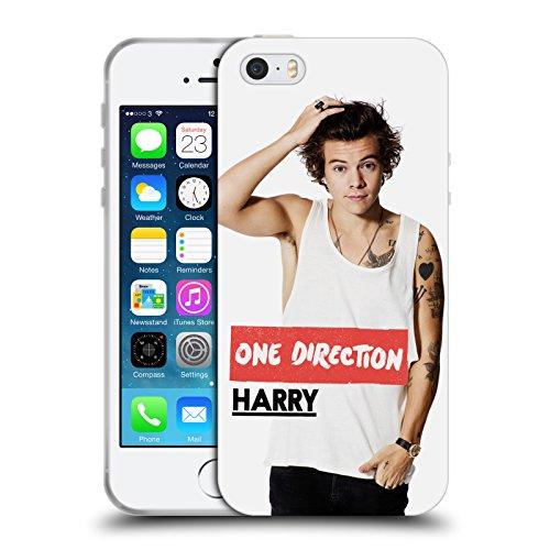 One Direction 1D Ufficiale Canottiera Bianca Foto Harry Styles Cover Morbida in Gel per Apple iPhone 5 5s