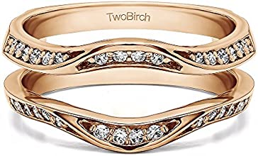 14k Gold Classic Contour Ring Guard Enhancer Wedding Band with Charles Colvard Created Moissanite 03