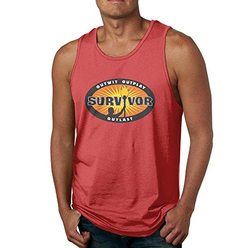 KTKY Man's Survivor 32 2016 Athletic Basic Tank Top Top Large Red
