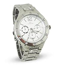 Branded Fashion Ladies Watch / Womens Watch at Discounted Sale Price - Elegant Silver Colour Watch with Crystals