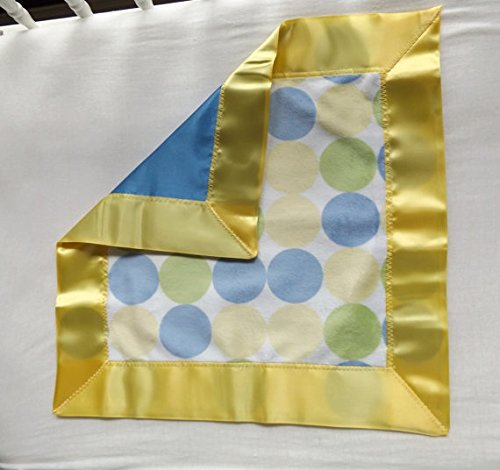 Blue Satin and Dot Minky Toddler Quilt with Satin Binding, Security Blanket - Lovey - Carseat, Stroller, Travel Soother - Minky Baby Blanket