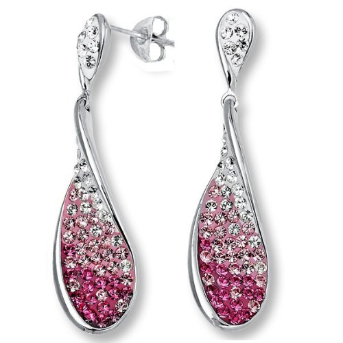 e792985e4 Sterling Silver Tear Drop Crystal Dangle Earrings made with Pink and White  Swarovski Elements