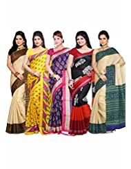AISHA Printed Fashion Machine Art Silk Multicolor Sari (Pack Of 5) - B00TYAJWWO