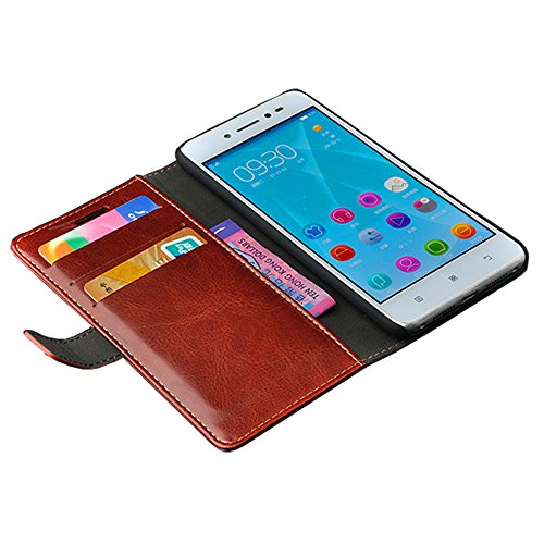 Lenovo Sisley S90 Case, [Wallet Function] [Stand Feature] Vintage Crazy Horse PU Leather Case, Flip Folio Book Cover with Magnetic Closure [Cash Pocket & 2 Credit Card Holders] (Brown)
