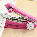 Portable Sewing Machine, Transer Mini Handheld Sewing Repair Kit for Fabric, Needlework and Kid's Cloth, Lightweight Craft Single Thread Sewing Machine (Hot Pink)