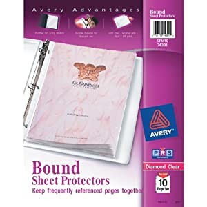 Image: Avery Diamond Clear Bound Sheet Protectors, Acid Free, 10-Page Set (74301) - Binds 10 sheet protectors on a single spine to keep pages together and in order