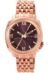 Vince Camuto Men's VC/1002BYRG The Veteran Wine Dial Date Function Rosegold-Tone Bracelet Watch