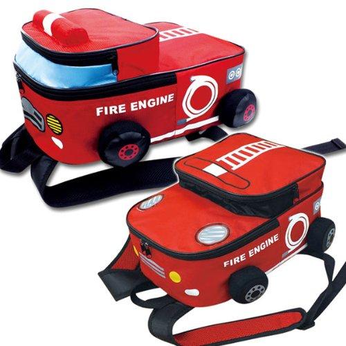 ・子供 リュック 通学 おしゃれ キッズ かわいい 子供用バッグ リュックサック KIDS 緊急車両 レッド / 消防車
