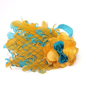 Lovely Ovely Unusal Cotton Baby Girls Infant Bow Peacock Headband Hairband Feather Flower Hair Band,Yellow