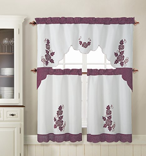 3 Piece Kitchen Window Curtain Set: Flower Leaf Applique Design (Maroon and Ivory) (Maroon Kitchen Curtains compare prices)