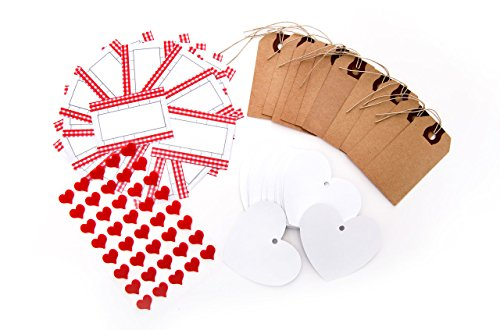 75 teile geschenkanh nger set 30 papieranh nger 25 rot wei e selbstklebende etiketten und 40. Black Bedroom Furniture Sets. Home Design Ideas