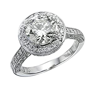 GIA Certified 14k white-gold Round Cut Diamond Engagement Ring (2.64 cttw, G Color, VS2 Clarity)