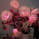 20 LED バッテリー ウェディング ガーデン パーティー クリスマス装飾用のバラの花の妖精の文字列ライトの運営