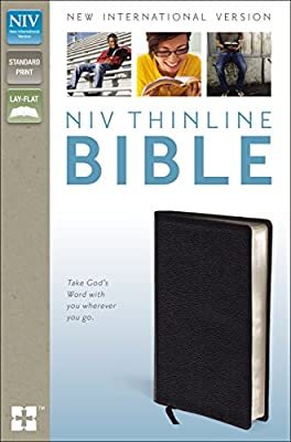 NIV, Thinline Bible, Bonded Leather, Black, Lay Flat