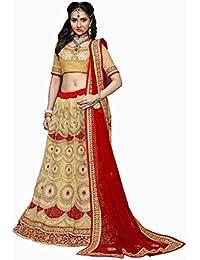 Aryan Fashion Designer Cream & Red Banglory Silk Nd Net Embroidery Work Semi-Stitched Wedding Lehenga Choli