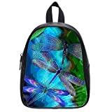 Brightly Painting Art Green Dragonfly Custom Kid's School Bag/Casual Backpack/Students Shoulder Bag (Large)
