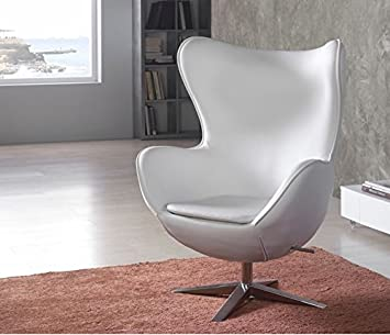 Fauteuil Egg Chair en cuir blanc conception de 1958