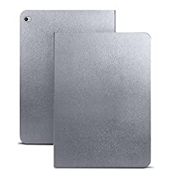 iPad Pro Case - MyCell® Folio Leather Smart Cover for iPad Pro 12.9 Inch with built in stand and front/back protection - Built in Magnet Feature for Sleep and Wake function - Silver Grey