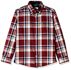 US Polo Association Boys Shirt (SH5475_Dark Red _9 - 10 years)