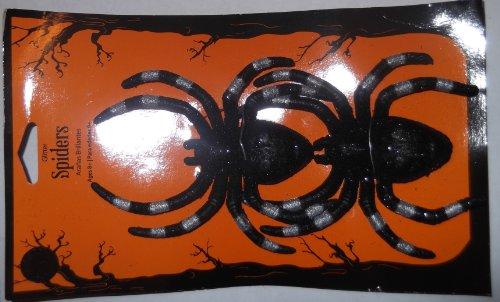 "Set of 2 Creepy Tarantula Spiders - Assorted Glittered Colored Stripes - 5"" x 4"""
