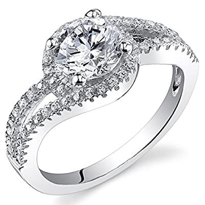 Revoni Sterling Silver French Pave Round Cut Simulated Diamond Engagement Ring,
