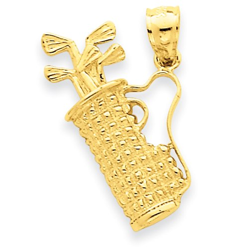 14k Solid Polished Golf Bag with Clubs Charm