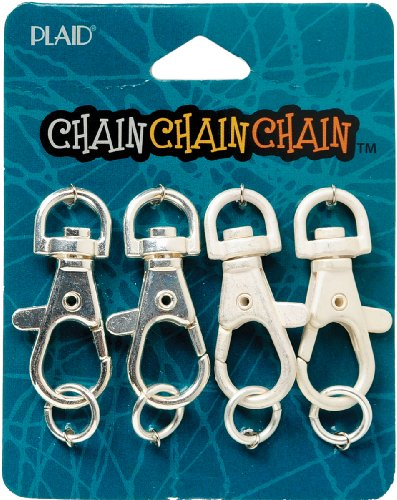 Plaid 4-Pack Chain Jewelry, Shiny Silver/Matte Silver Keychain Lobster Clasps