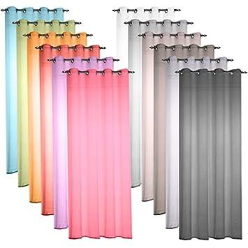 senvorhang voilage 135x240cm in khaki transparente gardine aus voile in vielen frischen und. Black Bedroom Furniture Sets. Home Design Ideas