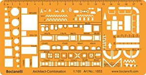 Metric 1:100 Scale Architectural Drawing Template Stencil - Architect Technical Drafting Supplies - Furniture Symbols for House Interior Floor Plan Design