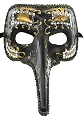 RedSkyTrader Mens Long Nose Joker Mask One Size Fits Most Gold Black
