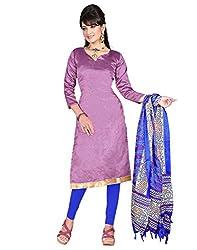 Lookslady Printed Violet Silk Dress Material